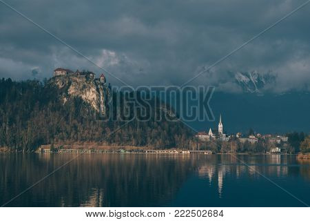 Castle of Bled. Bled castle. Sunset view of lake bled and mountains.