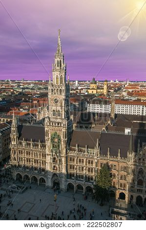 Aerial view of Marienplatz in Munich at sunset. Romantic sight of the big German city at sunset
