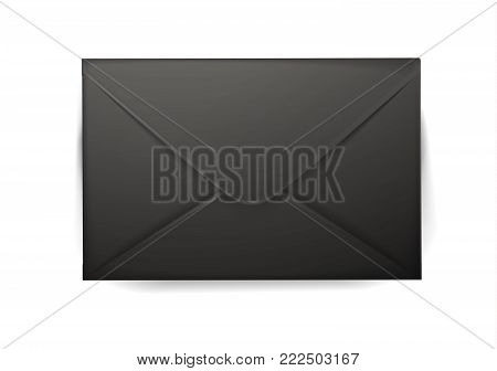 Vector realistic 3d black envelope. Standart empty post letter cover. Business post mail, office documents, message, corporate identity design mockup template. Isolated illustration, white background