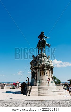 Budapest, Hungary - August 14, 2017: Statue of Prince Eugene of Savoy in Budapest in Buda Castle