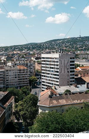 Budapest, Hungary - August 14, 2017:  High angle view of Residential District in Buda from the Castle