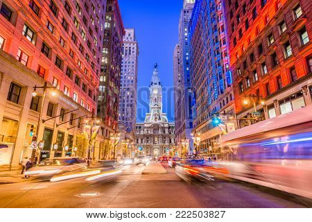 Philadelphia, Pennsylvania, USA cityscape on Broad Street with City Hall.
