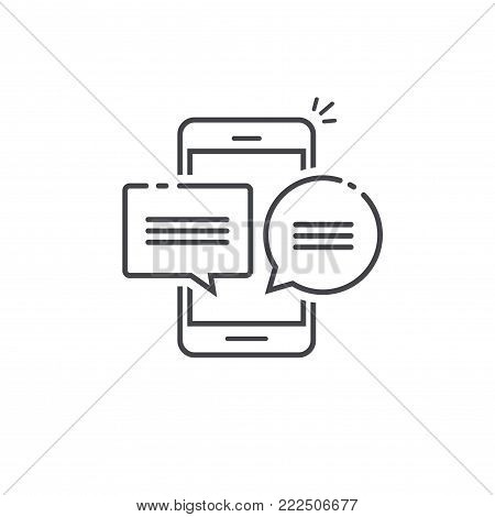 Smartphone chat message notifications icon vector illustration isolated, line outline art mobile phone and chatting bubble speeches, concept of cellphone online talking, speak, conversation, dialog