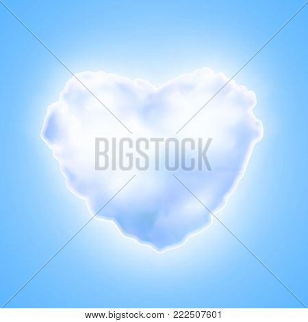 Vector realistic blue sweet cotton candy textured 3d heart icon. Happy valentines, women day symbol of love, care, togetherness. Illustration on blue background
