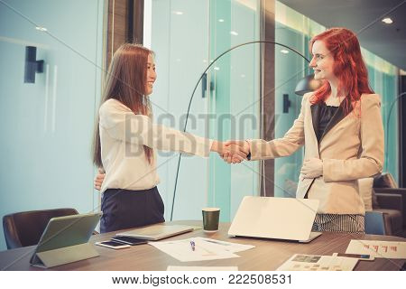 Western business women shaking hands in a meeting room, Multi ethnic