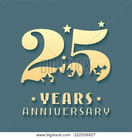 25 years anniversary vector icon, symbol, logo. Graphic design element for 25th anniversary birthday card