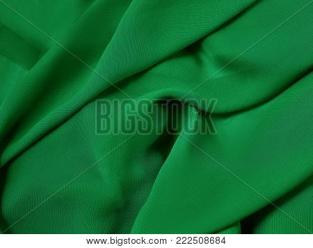 The green red cloth, fabric background and texture, curtain theater