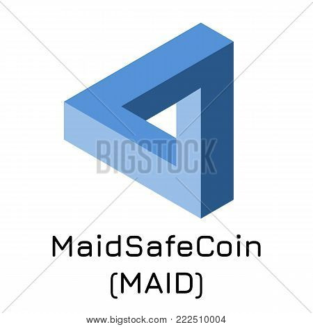 Vector illustration crypto coin icon on isolated white background MaidSafeCoin (MAID). Name of the crypto currency and the short trade name on the exchange. Digital currency