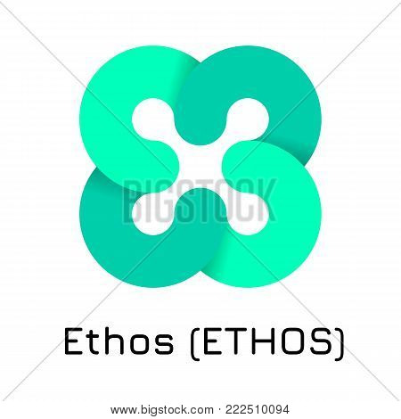 Vector illustration crypto coin icon on isolated white background Ethos (ETHOS). Name of the crypto currency and the short trade name on the exchange. Digital currency