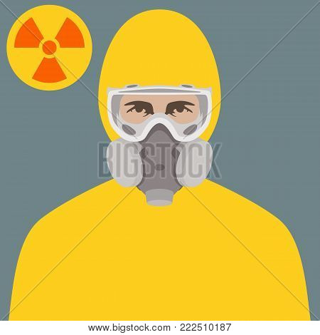 protective clothing  face vector illustration flat style front  view