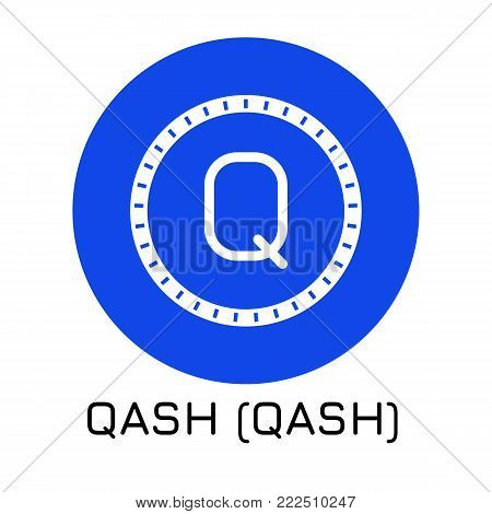 Vector illustration crypto coin icon on isolated white background QASH (QASH). Name of the crypto currency and the short trade name on the exchange. Digital currency