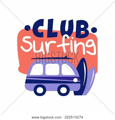 Surfing club logo, surf retro badge vector Illustration isolated on a white background