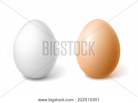 Vectro realistic 3d chicken eggs with brown, white eggshell. Easter holiday spring symbol organic raw uncooked natural farm product. Healthy eating lifestyle advertising Isolated illustration
