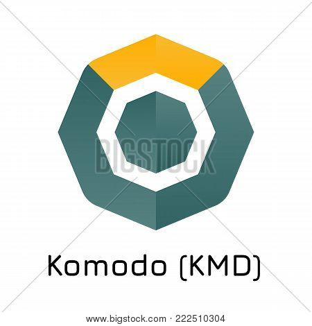 Vector illustration crypto coin icon on isolated white background Komodo (KMD). Name of the crypto currency and the short trade name on the exchange. Digital currency