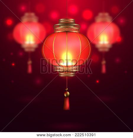 Vector chinese asian new year poster with realistic, 3d chinese festive lanterns flashlights on dark red blurred background. Traditional national calendar card poster template element