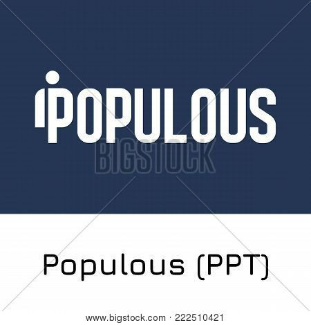Vector illustration crypto coin icon on isolated white background Populous (PPT). Name of the crypto currency and the short trade name on the exchange. Digital currency