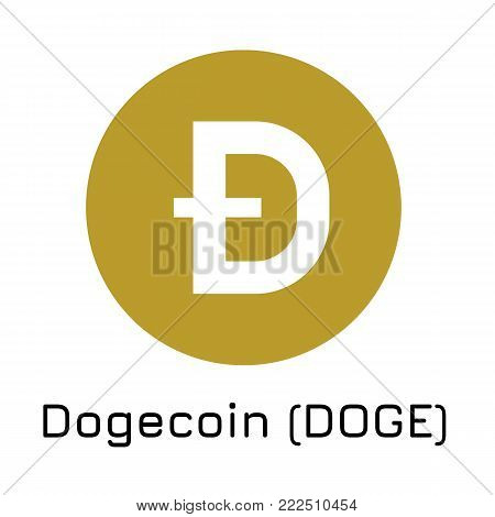Vector illustration crypto coin icon on isolated white background Dogecoin (DOGE). Name of the crypto currency and the short trade name on the exchange. Digital currency