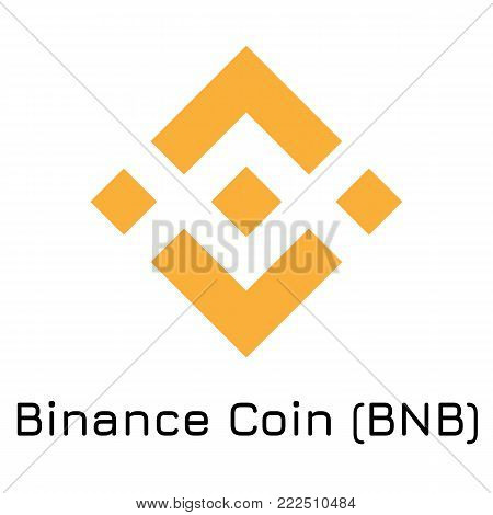 Vector illustration crypto coin icon on isolated white background Binance Coin (BNB). Name of the crypto currency and the short trade name on the exchange. Digital currency