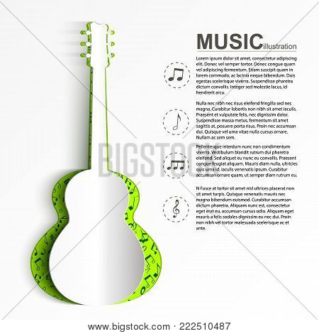 Musical abstract template with text white paper acoustic guitar silhouette and musical icons vector illustration