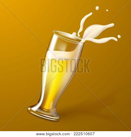 Vector realistic 3d beer glass with splashing foam. Refreshing mug, cup of ale lager beer with bubbles with exploding froth from toasting saluting. Oktoberfest, alcohol drink advertising poster design