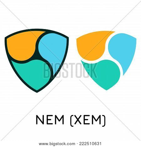 Vector illustration crypto coin icon on isolated white background NEM (XEM). Name of the crypto currency and the short trade name on the exchange. Digital currency