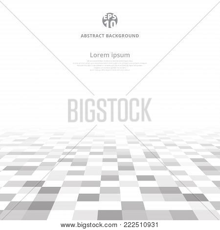 Abstract geometric gray and white pattern background with mesh of squares on ground perspective with copy space. Mosaic. Geometry template. Vector illustration