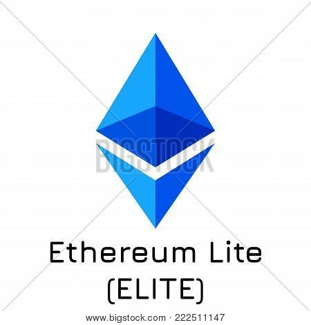 Vector illustration crypto coin icon on isolated white background Ethereum Lite (ELITE). Name of the crypto currency and the short trade name on the exchange. Digital currency