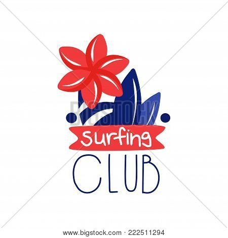 Surfing club logo, surf retro element or label vector Illustration isolated on a white background