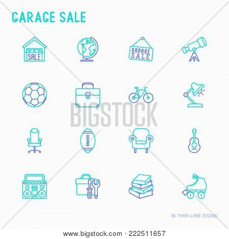 Garage sale, flea market thin line icons set: signboard, globe, telescope,guitar, rollers, armchair, toolbox, soccer ball. Modern vector illustration.