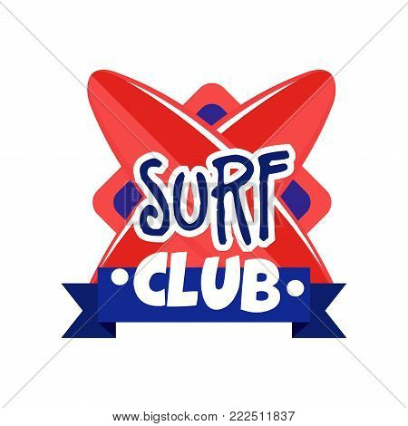 Surf club logo, retro badge for surf school, beach rest, summer water sports vector Illustration isolated on a white background