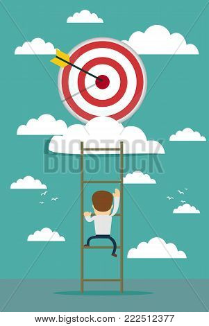 businessman climbing the ladder for target, business success concept cartoon vector illustration