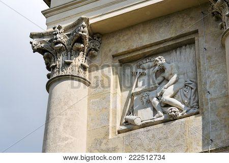 Colonnade Reistna classicist architecture detail, Lednice Valtice Moravia, Czech Republic