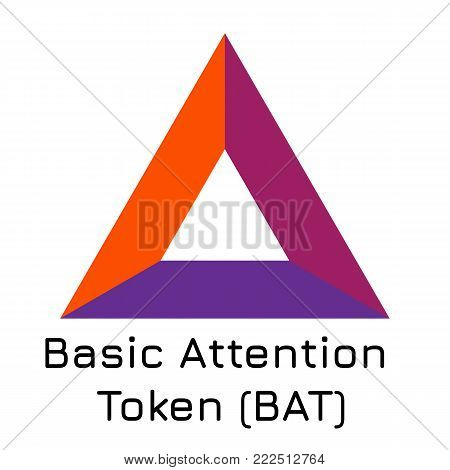 Vector illustration crypto coin icon on isolated white background Basic Attention Token (BAT). Name of the crypto currency and the short trade name on the exchange. Digital currency