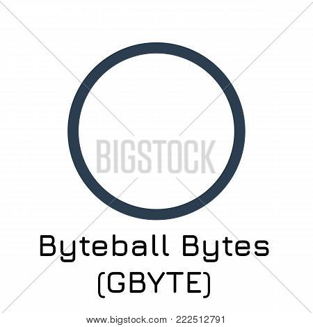 Vector illustration crypto coin icon on isolated white background Byteball Bytes (GBYTE). Name of the crypto currency and the short trade name on the exchange. Digital currency