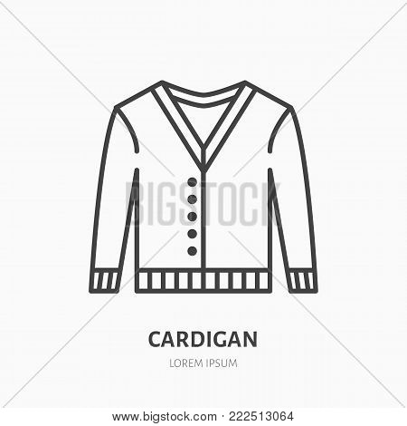 Cardigan, sweater flat line icon. Apparel store sign. Thin linear logo for clothing shop.