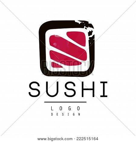 Sushi logo design, badge for sushi bar or seafood restaurant watercolor vector Illustration isolated on a white background