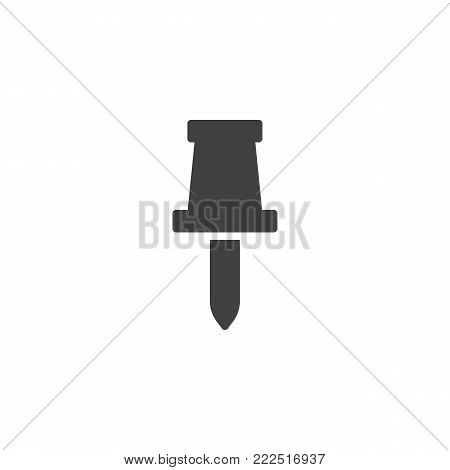 Drawing pin icon vector, filled flat sign, solid pictogram isolated on white. Pushpin symbol, logo illustration.