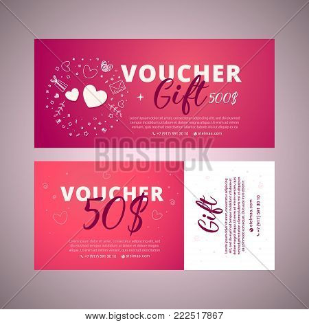 Valentine's day voucher. Gift voucher template with brigh telement. Bright set of gift voucher 50 dollars discount