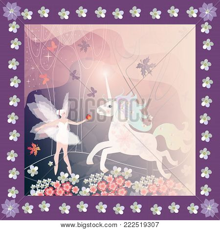 Beautiful card with fairy winged girl and unicorn in frame with flowers.