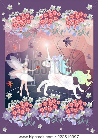 Fantasy forest. Beautiful fairy and white unicorn with glowing horn. Magic trees, flowers and butterflies.
