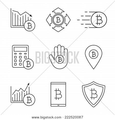 Bitcoin linear icons set. Cryptocurrency. Thin line contour symbol. Bitcoin rising and falling, spending, safe payment, calculations, ATM location, digital wallet. Isolated vector outline illustration