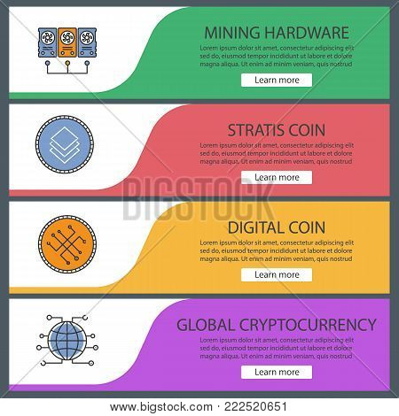 Cryptocurrency web banner templates set. Minig hardware, digital coin, stratis, global cryptocurrency. Website color menu items. Vector headers design concepts