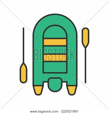 Inflatable rubber motor boat color icon. Dinghy with paddles. Isolated vector illustration