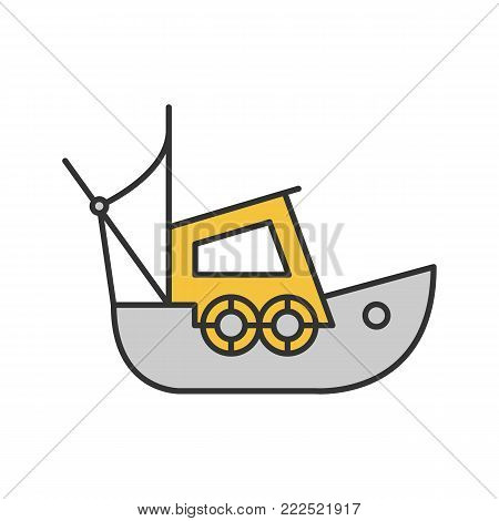 Fisher boat color icon. Coble. Yacht. Isolated vector illustration