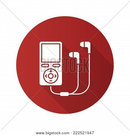 MP3 player flat design long shadow glyph icon. Vector silhouette illustration