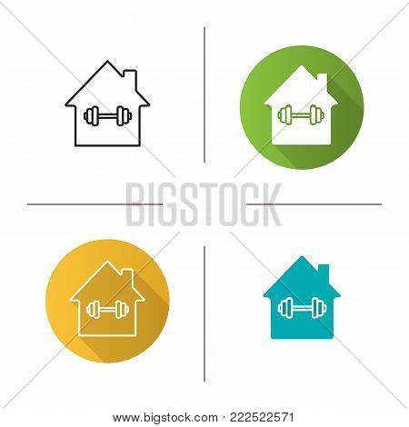 Home sport training icon. Flat design, linear and glyph color styles. House with barbell inside. Isolated vector illustrations