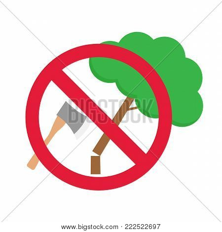 round prohibition sign no deforestation on isolate  white background.global warming concept
