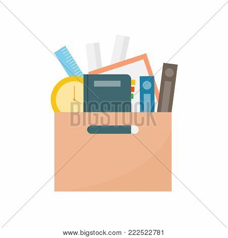 office cardboard box .employee dismissed from office.vector illustration. white isolate background