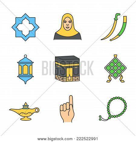 Islamic culture linear icons set. Islamic star, muslim woman, scimitar sword, lantern, kaaba, ketupat, oil lamp, god gesture, misbaha. Thin line outline symbols on color circles. Vector illustrations