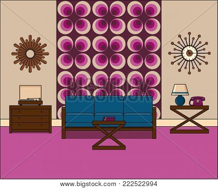 Room in flat design. Retro living room interior 1960s in line art. Linear illustration. Vector graphics. Thin line vintage home space with couch, turntable and telephone. House equipment.
